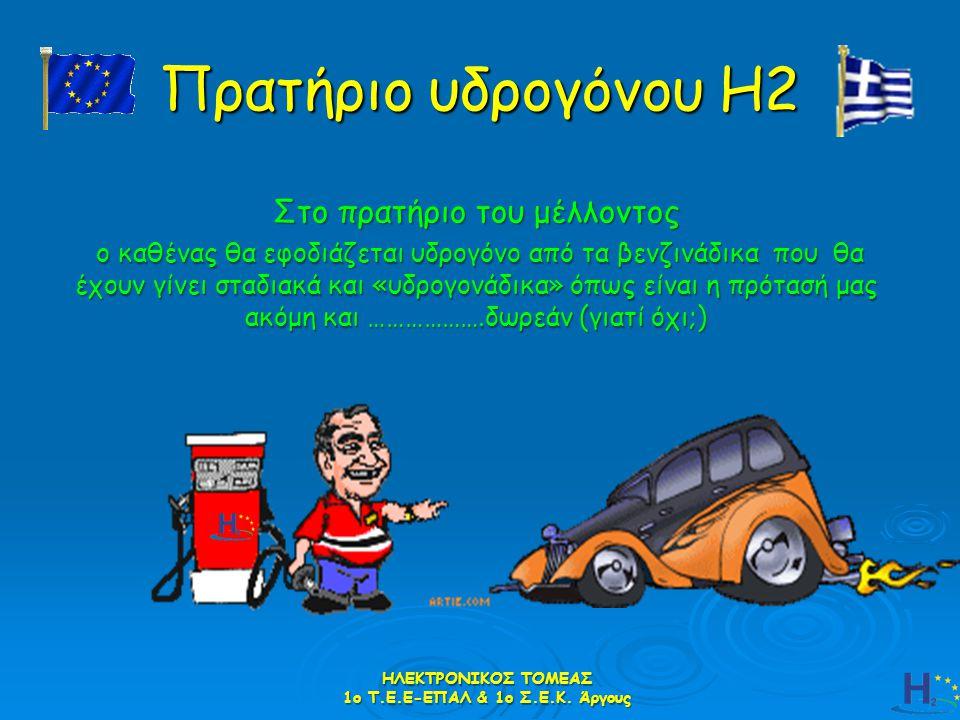 Πρατήριο υδρογόνου Η2 Στο πρατήριο του μέλλοντος ο καθένας θα εφοδιάζεται υδρογόνο από τα βενζινάδικα που θα έχουν γίνει σταδιακά και «υδρογονάδικα» ό