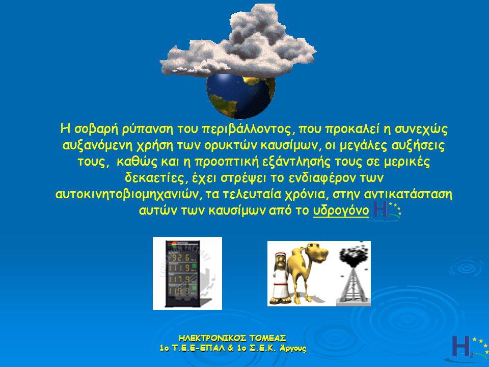 Πρατήριο υδρογόνου Η2 Στο πρατήριο του μέλλοντος ο καθένας θα εφοδιάζεται υδρογόνο από τα βενζινάδικα που θα έχουν γίνει σταδιακά και «υδρογονάδικα» όπως είναι η πρότασή μας ακόμη και ……………….δωρεάν (γιατί όχι;) ο καθένας θα εφοδιάζεται υδρογόνο από τα βενζινάδικα που θα έχουν γίνει σταδιακά και «υδρογονάδικα» όπως είναι η πρότασή μας ακόμη και ……………….δωρεάν (γιατί όχι;) ΗΛΕΚΤΡΟΝΙΚΟΣ ΤΟΜΕΑΣ 1ο Τ.Ε.Ε-ΕΠΑΛ & 1ο Σ.Ε.Κ.