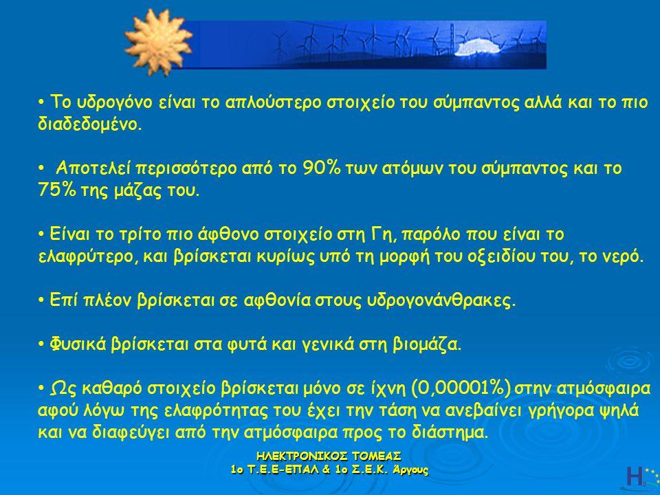 ΗΛΕΚΤΡΟΝΙΚΟΣ ΤΟΜΕΑΣ 1ο Τ.Ε.Ε-ΕΠΑΛ & 1ο Σ.Ε.Κ.Άργους Το υδρογόνο είναι ένα άχρωμο και άοσμο αέριο.