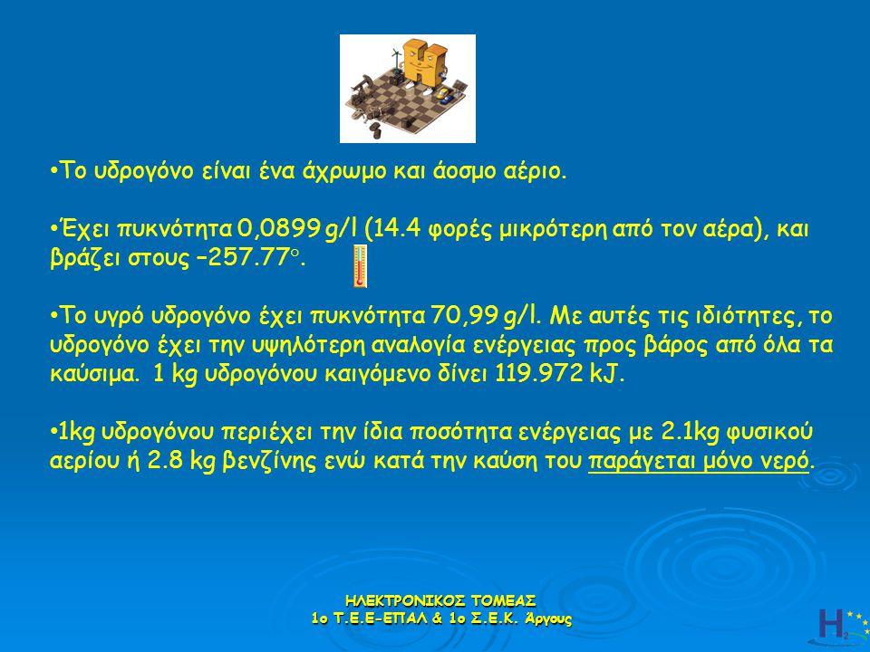 ΗΛΕΚΤΡΟΝΙΚΟΣ ΤΟΜΕΑΣ 1ο Τ.Ε.Ε-ΕΠΑΛ & 1ο Σ.Ε.Κ. Άργους Το υδρογόνο είναι ένα άχρωμο και άοσμο αέριο. Έχει πυκνότητα 0,0899 g/l (14.4 φορές μικρότερη από