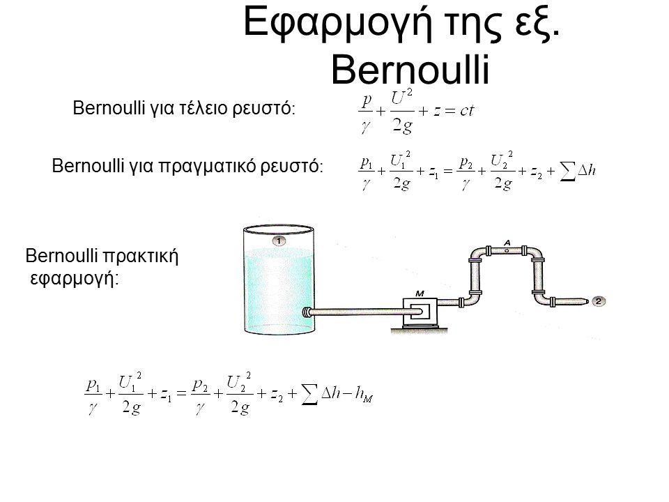 Εφαρμογή της εξ. Bernoulli Bernoulli για τέλειο ρευστό : Bernoulli για πραγματικό ρευστό : Bernoulli πρακτική εφαρμογή: