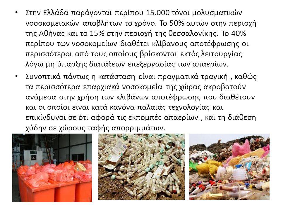 Στην Ελλάδα παράγονται περίπου 15.000 τόνοι μολυσματικών νοσοκομειακών αποβλήτων το χρόνο. Το 50% αυτών στην περιοχή της Αθήνας και το 15% στην περιοχ