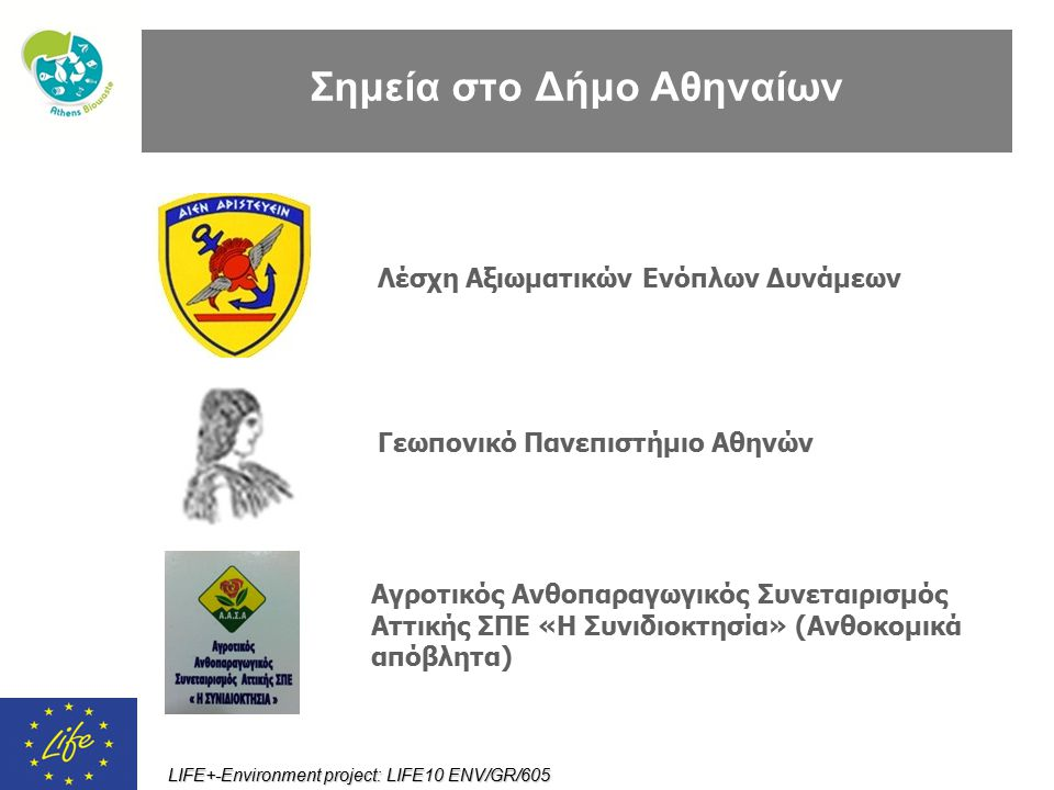 LIFE+-Environment project: LIFE10 ENV/GR/605 Σημεία στο Δήμο Αθηναίων Γεωπονικό Πανεπιστήμιο Αθηνών Λέσχη Αξιωματικών Ενόπλων Δυνάμεων Αγροτικός Ανθοπ