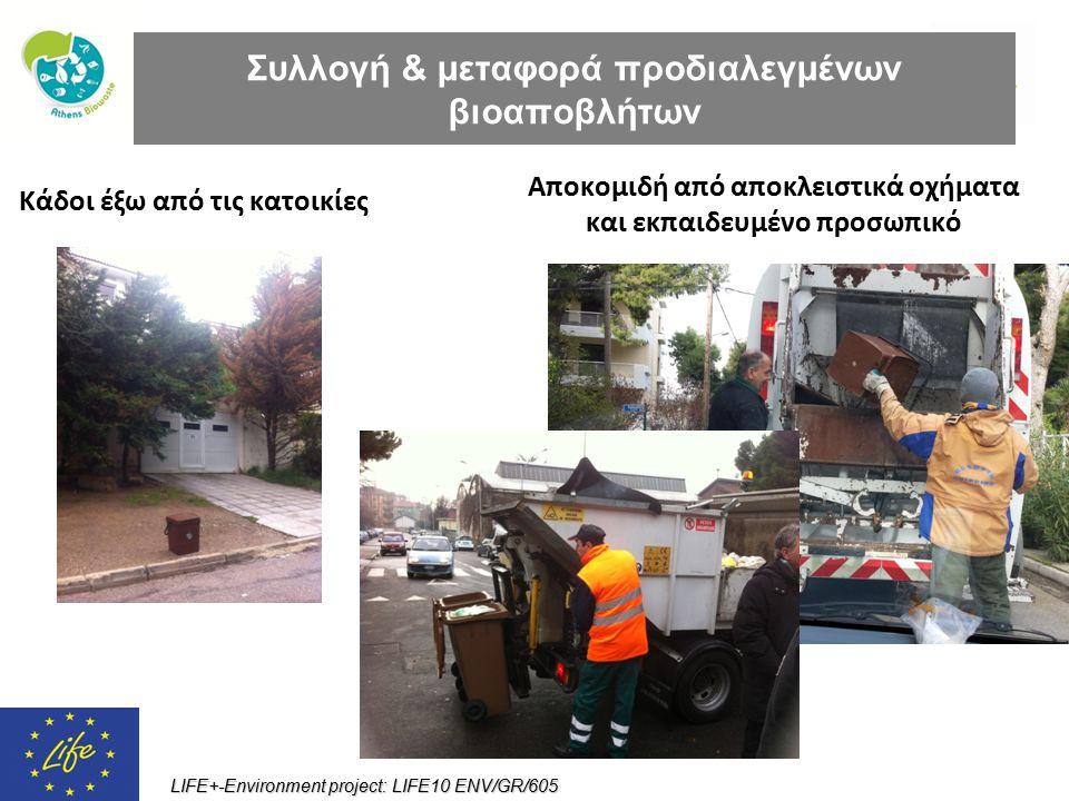 LIFE+-Environment project: LIFE10 ENV/GR/605 Κάδοι έξω από τις κατοικίες Αποκομιδή από αποκλειστικά οχήματα και εκπαιδευμένο προσωπικό Συλλογή & μεταφ