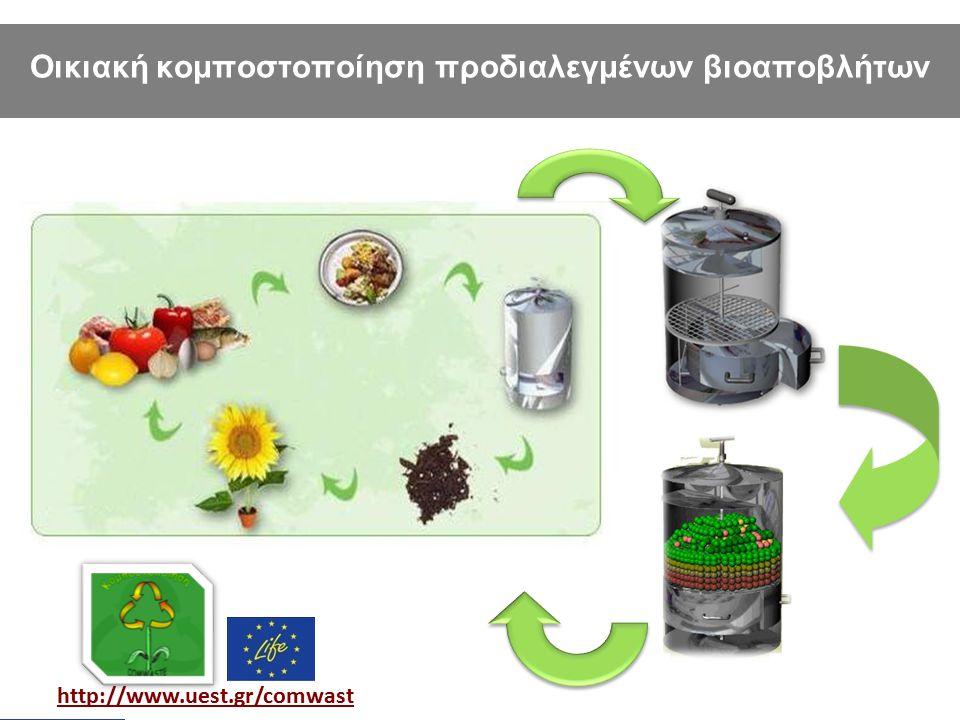 LIFE+-Environment project: LIFE10 ENV/GR/605 http://www.uest.gr/comwast e Οικιακή κομποστοποίηση προδιαλεγμένων βιοαποβλήτων