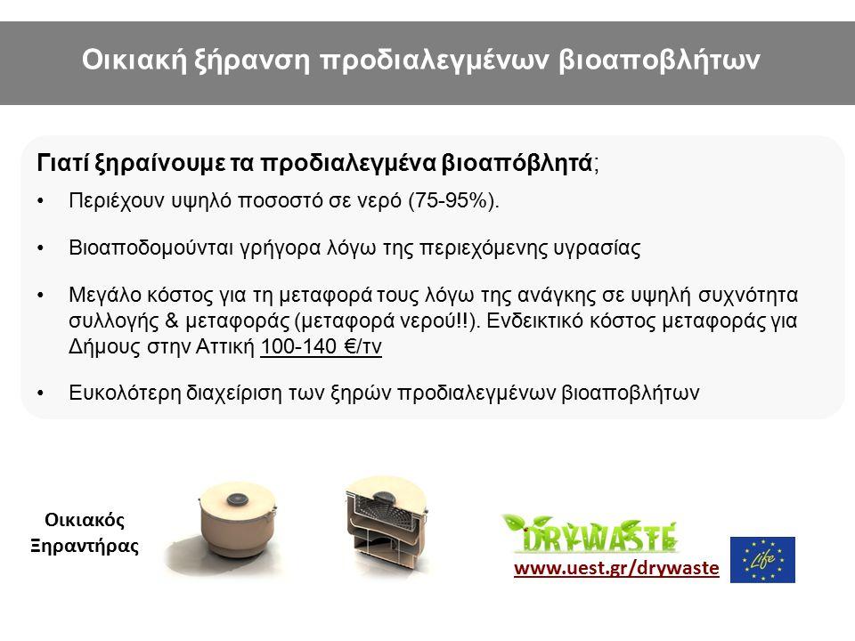 LIFE+-Environment project: LIFE10 ENV/GR/605 www.uest.gr/drywaste Οικιακός Ξηραντήρας Γιατί ξηραίνουμε τα προδιαλεγμένα βιοαπόβλητά; Περιέχουν υψηλό π