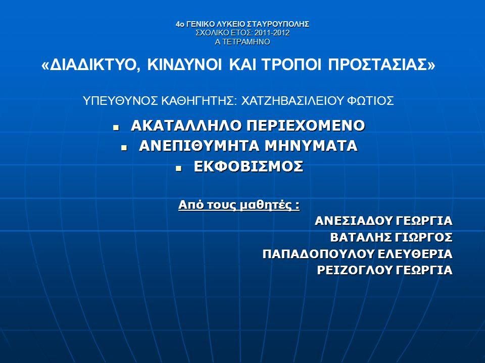 4ο ΓΕΝΙΚΟ ΛΥΚΕΙΟ ΣΤΑΥΡΟΥΠΟΛΗΣ ΣΧΟΛΙΚΟ ΕΤΟΣ: 2011-2012 Α ΤΕΤΡΑΜΗΝΟ ΑΚΑΤΑΛΛΗΛΟ ΠΕΡΙΕΧΟΜΕΝΟ ΑΚΑΤΑΛΛΗΛΟ ΠΕΡΙΕΧΟΜΕΝΟ ΑΝΕΠΙΘΥΜΗΤΑ ΜΗΝΥΜΑΤΑ ΑΝΕΠΙΘΥΜΗΤΑ ΜΗΝΥΜ
