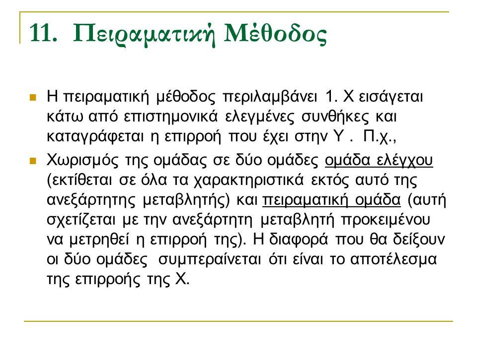 11. Πειραματική Μέθοδος Η πειραματική μέθοδος περιλαμβάνει 1. Χ εισάγεται κάτω από επιστημονικά ελεγμένες συνθήκες και καταγράφεται η επιρροή που έχει