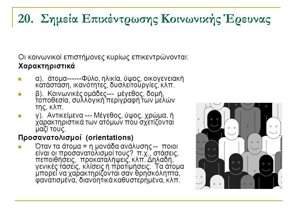 20. Σημεία Επικέντρωσης Κοινωνικής Έρευνας α). άτομα------Φύλο, ηλικία, ύψος, οικογενειακή κατάσταση, ικανότητες, δυσλειτουργίες, κλπ. β). Κοινωνικές