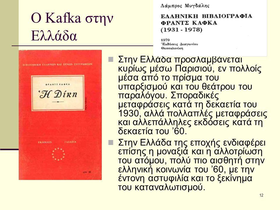 12 Ο Kafka στην Ελλάδα Στην Ελλάδα προσλαμβάνεται κυρίως μέσω Παρισιού, εν πολλοίς μέσα από το πρίσμα του υπαρξισμού και του θεάτρου του παραλόγου.