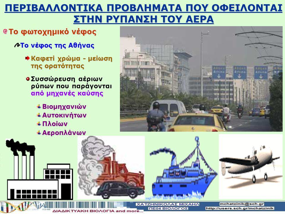 Το φωτοχημικό νέφος Το νέφος της Αθήνας Καφετί χρώμα - μείωση της ορατότητας από μηχανές καύσης Συσσώρευση αέριων ρύπων που παράγονται από μηχανές καύσηςΒιομηχανιώνΑυτοκινήτωνΠλοίωνΑεροπλάνων ΠΕΡΙΒΑΛΛΟΝTIKA ΠΡΟΒΛΗΜΑΤΑ ΠΟΥ ΟΦΕΙΛΟΝΤΑΙ ΣΤΗΝ ΡΥΠΑΝΣΗ ΤΟΥ ΑΕΡΑ