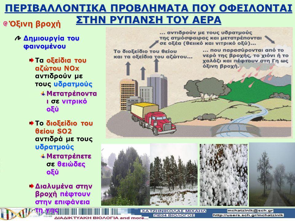 Όξινη βροχή Δημιουργία του φαινομένου οξείδια του αζώτου ΝOx υδρατμούς Τα οξείδια του αζώτου ΝOx αντιδρούν με τους υδρατμούς Μετατρέποντα ι νιτρικό οξύ Μετατρέποντα ι σε νιτρικό οξύ διοξείδιο του θείου SO2 υδρατμούς Το διοξείδιο του θείου SO2 αντιδρά με τους υδρατμούς Μετατρέπετε θειώδες οξύ Μετατρέπετε σε θειώδες οξύ Διαλυμένα στην βροχή πέφτουν στην επιφάνεια τη γης ΠΕΡΙΒΑΛΛΟΝTIKA ΠΡΟΒΛΗΜΑΤΑ ΠΟΥ ΟΦΕΙΛΟΝΤΑΙ ΣΤΗΝ ΡΥΠΑΝΣΗ ΤΟΥ ΑΕΡΑ