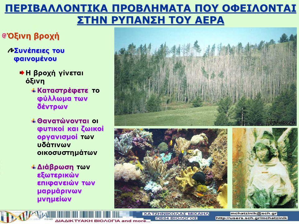 Όξινη βροχή Συνέπειες του φαινομένου H βροχή γίνεται όξινη Καταστρέφετε φύλλωμα των δέντρων Καταστρέφετε το φύλλωμα των δέντρων Θανατώνονται φυτικοί και ζωικοί οργανισμοί Θανατώνονται οι φυτικοί και ζωικοί οργανισμοί των υδάτινων οικοσυστημάτων Διάβρωση εξωτερικών επιφανειών των μαρμάρινων μνημείων Διάβρωση των εξωτερικών επιφανειών των μαρμάρινων μνημείων ΠΕΡΙΒΑΛΛΟΝTIKA ΠΡΟΒΛΗΜΑΤΑ ΠΟΥ ΟΦΕΙΛΟΝΤΑΙ ΣΤΗΝ ΡΥΠΑΝΣΗ ΤΟΥ ΑΕΡΑ