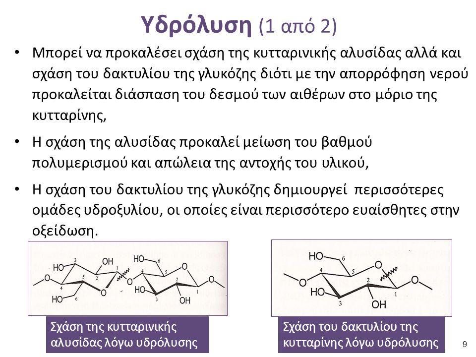 Υδρόλυση (1 από 2) Μπορεί να προκαλέσει σχάση της κυτταρινικής αλυσίδας αλλά και σχάση του δακτυλίου της γλυκόζης διότι με την απορρόφηση νερού προκαλείται διάσπαση του δεσμού των αιθέρων στο μόριο της κυτταρίνης, Η σχάση της αλυσίδας προκαλεί μείωση του βαθμού πολυμερισμού και απώλεια της αντοχής του υλικού, Η σχάση του δακτυλίου της γλυκόζης δημιουργεί περισσότερες ομάδες υδροξυλίου, οι οποίες είναι περισσότερο ευαίσθητες στην οξείδωση.