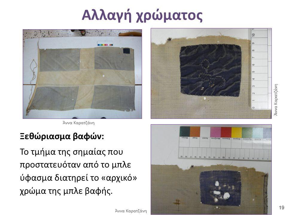 Αλλαγή χρώματος Ξεθώριασμα βαφών: Το τμήμα της σημαίας που προστατευόταν από το μπλε ύφασμα διατηρεί το «αρχικό» χρώμα της μπλε βαφής.