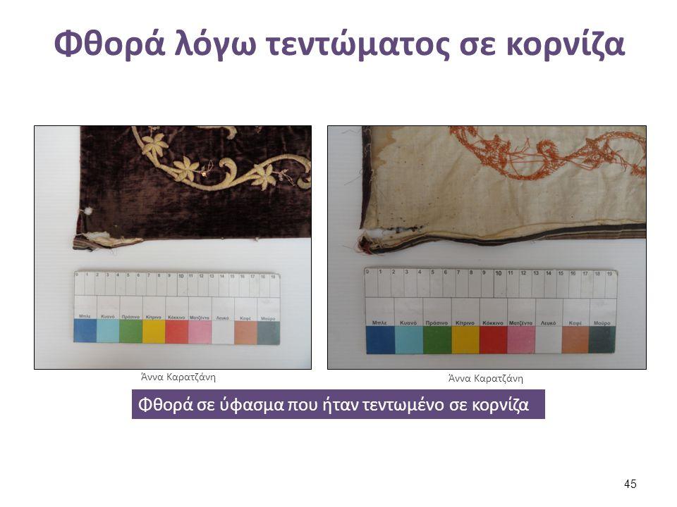 Φθορά λόγω τεντώματος σε κορνίζα Φθορά σε ύφασμα που ήταν τεντωμένο σε κορνίζα Άννα Καρατζάνη 45