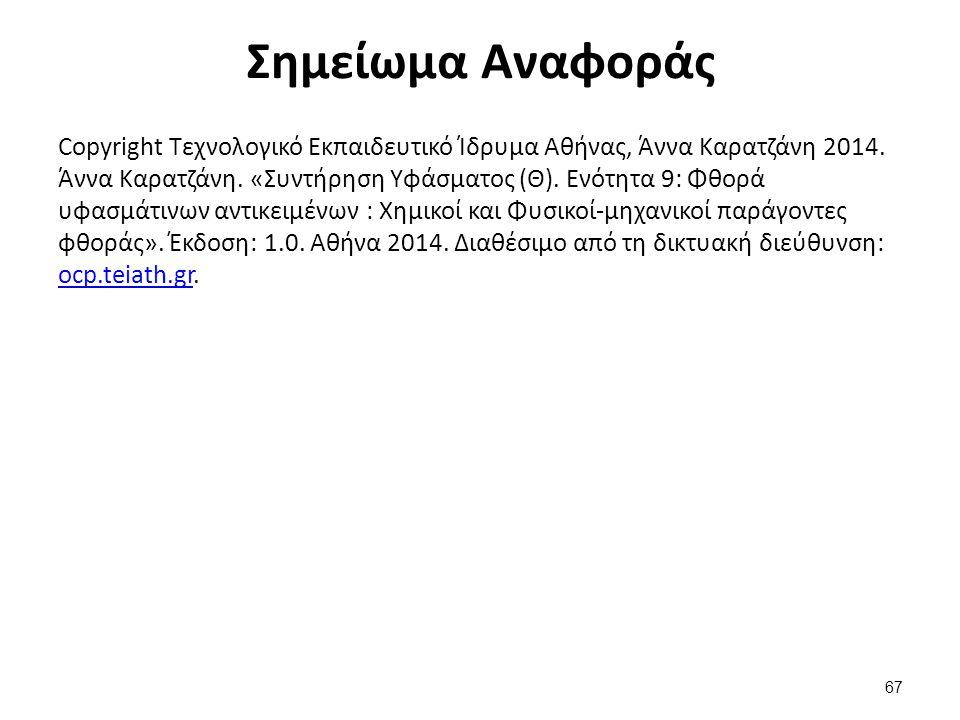Σημείωμα Αναφοράς Copyright Τεχνολογικό Εκπαιδευτικό Ίδρυμα Αθήνας, Άννα Καρατζάνη 2014. Άννα Καρατζάνη. «Συντήρηση Υφάσματος (Θ). Ενότητα 9: Φθορά υφ
