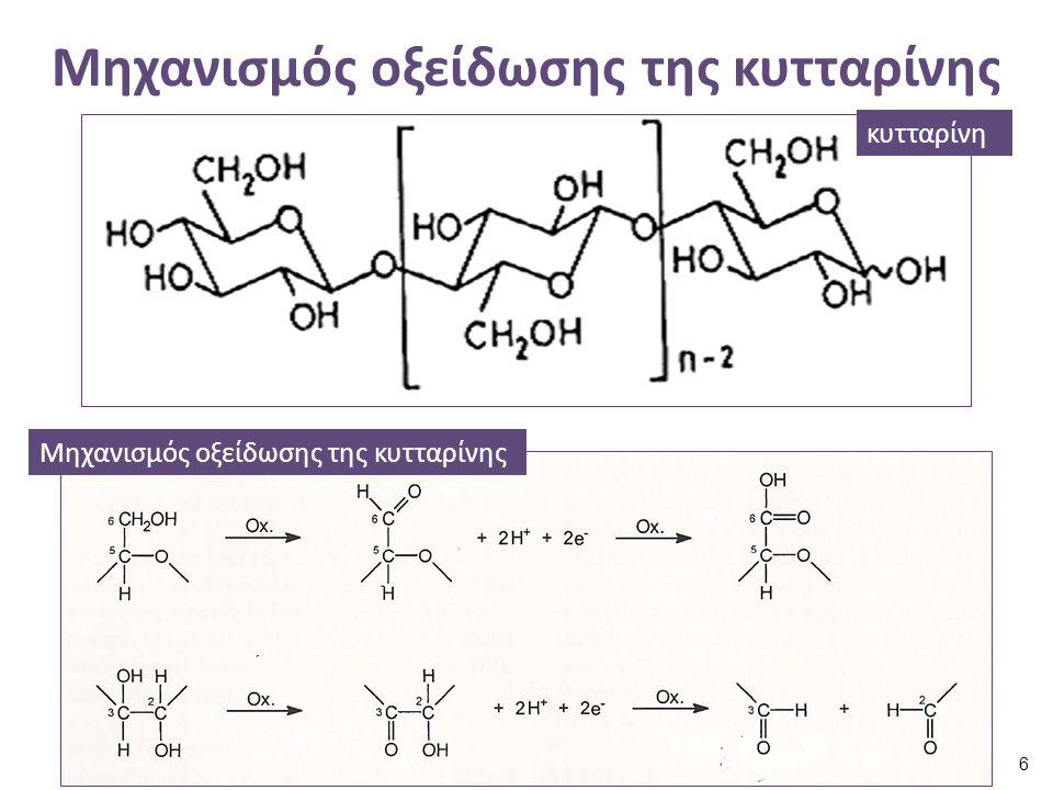 Αποτελέσματα της οξείδωσης (1 από 2) Οι φυτικές ίνες κιτρινίζουν : – Το κιτρίνισμα αυτό αποτελεί ένδειξη για το σχηματισμό ομάδων αλδεΰδης και κετόνης, οι οποίες αναφέρονται και ως χρωμοφόρες, – Το κίτρινο χρώμα των οξειδωμένων φυτικών ινών εντείνεται από την παρουσία αρωματικών ακαθαρσιών.