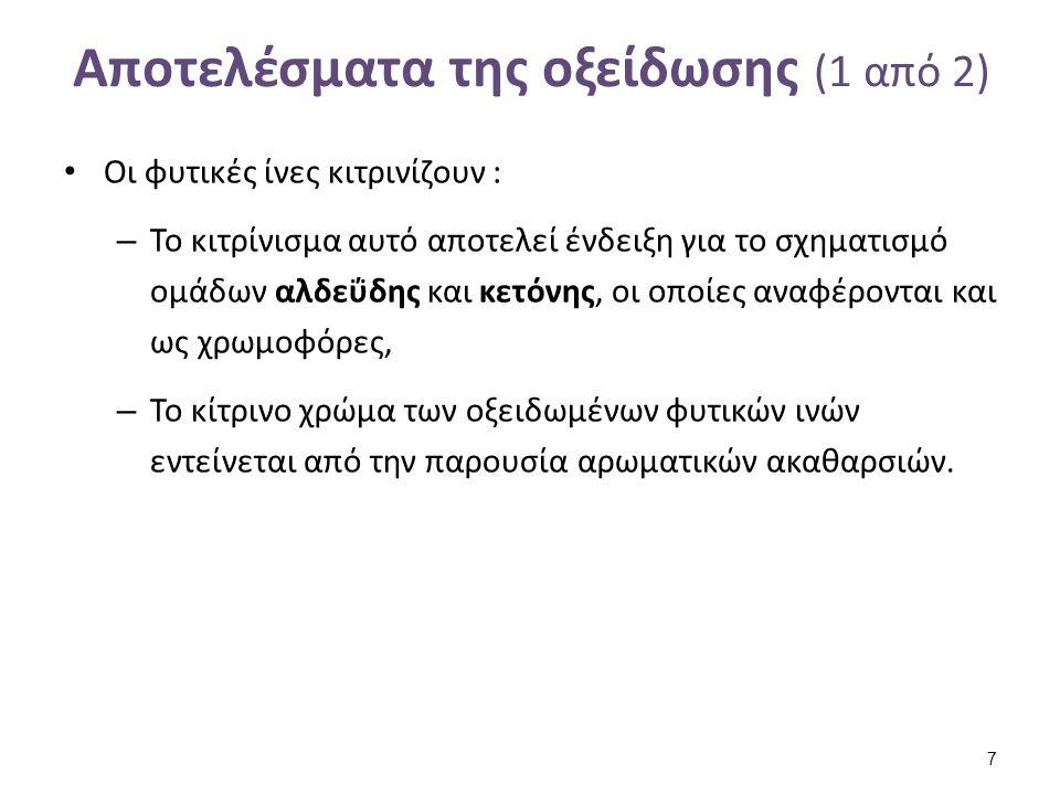 Αποτελέσματα της οξείδωσης (1 από 2) Οι φυτικές ίνες κιτρινίζουν : – Το κιτρίνισμα αυτό αποτελεί ένδειξη για το σχηματισμό ομάδων αλδεΰδης και κετόνης