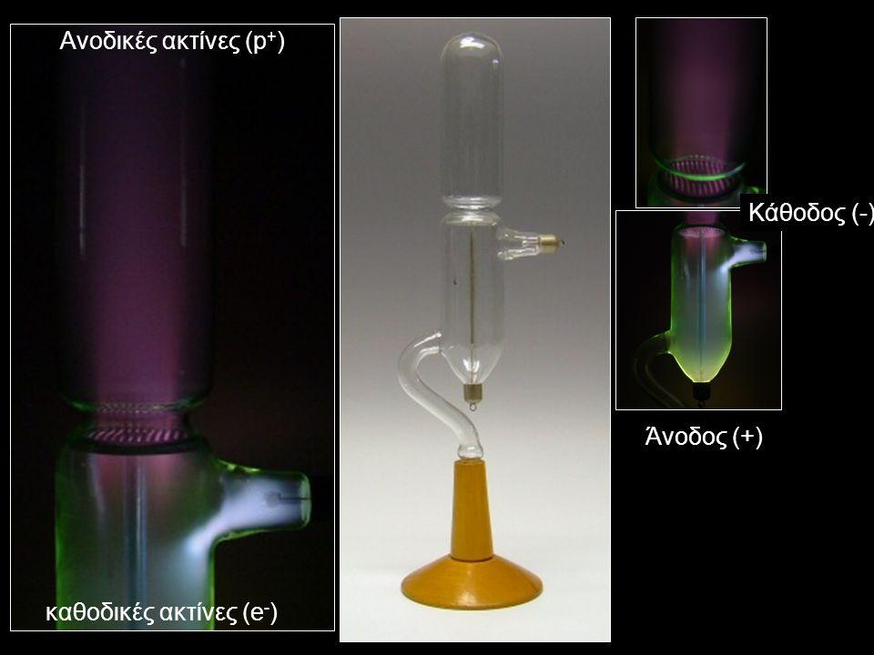 Άνοδος (+) Κάθοδος (-) καθοδικές ακτίνες (e - ) Ανοδικές ακτίνες (p + )