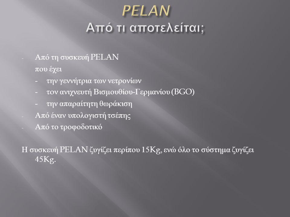 - Από τη συσκευή PELAN που έχει - την γεννήτρια των νετρονίων - τ o ν ανιχνευτή Βισμουθίου - Γερμανίου (BGO) - την απαραίτητη θωράκιση - Από έναν υπολογιστή τσέπης - Από το τροφοδοτικό Η συσκευή PELAN ζυγίζει περίπου 15Kg, ενώ όλο το σύστημα ζυγίζει 45Kg.