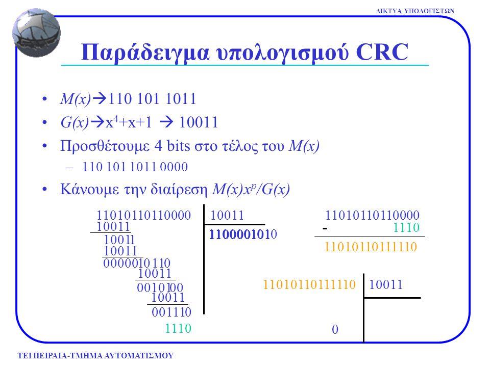 ΤΕΙ ΠΕΙΡΑΙΑ-ΤΜΗΜΑ ΑΥΤΟΜΑΤΙΣΜΟΥ ΔΙΚΤΥΑ ΥΠΟΛΟΓΙΣΤΩΝ Αποτέλεσμα Ένας πολυωνυμικός κώδικας με r bits ελέγχου θα ανιχνεύσει όλα τα σφάλματα καταιγισμού μήκους  r –Σφάλμα καταιγισμού ορίζεται ως ένα πολυώνυμο E(x) που το αρχικό και το τελικό bit είναι 1, άρα μπορεί να παραγοντοποιηθεί σε x i(x k-i +…..+ 1).
