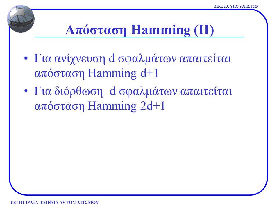 ΤΕΙ ΠΕΙΡΑΙΑ-ΤΜΗΜΑ ΑΥΤΟΜΑΤΙΣΜΟΥ ΔΙΚΤΥΑ ΥΠΟΛΟΓΙΣΤΩΝ Απόσταση Hamming (ΙΙΙ) Παράδειγμα Έστω κώδικας με 4 έγκυρες κωδικές λέξεις 0000000000000001111111111000001111111111 Έχει απόσταση 5, άρα μπορεί να διορθώνει διπλά σφάλματα