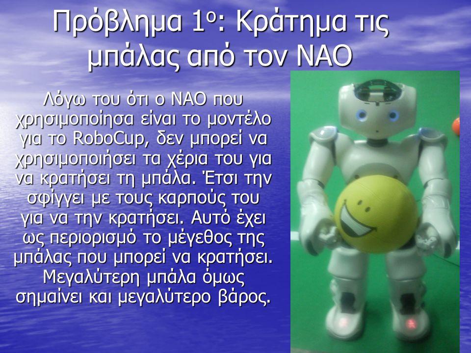 Πρόβλημα 1 ο : Κράτημα τις μπάλας από τον ΝΑΟ Λόγω του ότι ο ΝΑΟ που χρησιμοποίησα είναι το μοντέλο για το RoboCup, δεν μπορεί να χρησιμοποιήσει τα χέρια του για να κρατήσει τη μπάλα.