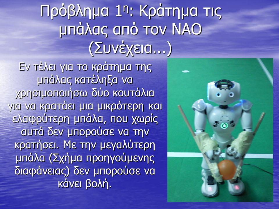 Πρόβλημα 1 η : Κράτημα τις μπάλας από τον ΝΑΟ (Συνέχεια...) Εν τέλει για το κράτημα της μπάλας κατέληξα να χρησιμοποιήσω δύο κουτάλια για να κρατάει μ