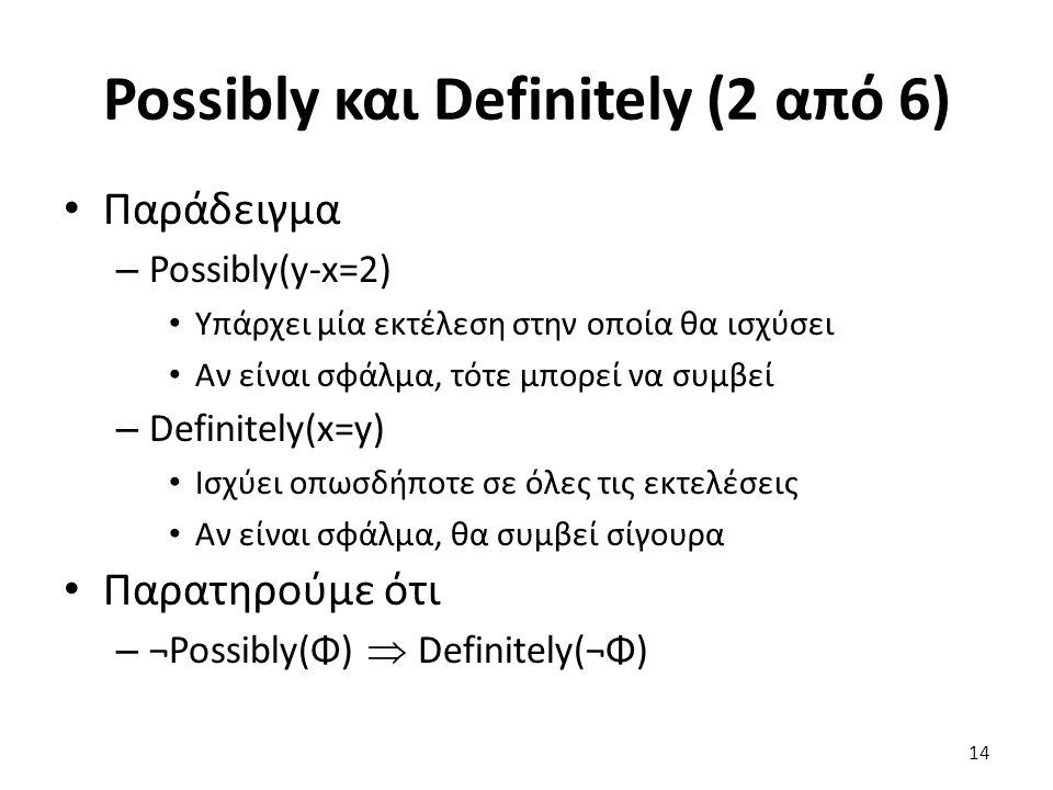 Possibly και Definitely (2 από 6) Παράδειγμα – Possibly(y-x=2) Υπάρχει μία εκτέλεση στην οποία θα ισχύσει Αν είναι σφάλμα, τότε μπορεί να συμβεί – Definitely(x=y) Ισχύει οπωσδήποτε σε όλες τις εκτελέσεις Αν είναι σφάλμα, θα συμβεί σίγουρα Παρατηρούμε ότι – ¬Possibly(Φ)  Definitely(¬Φ) 14