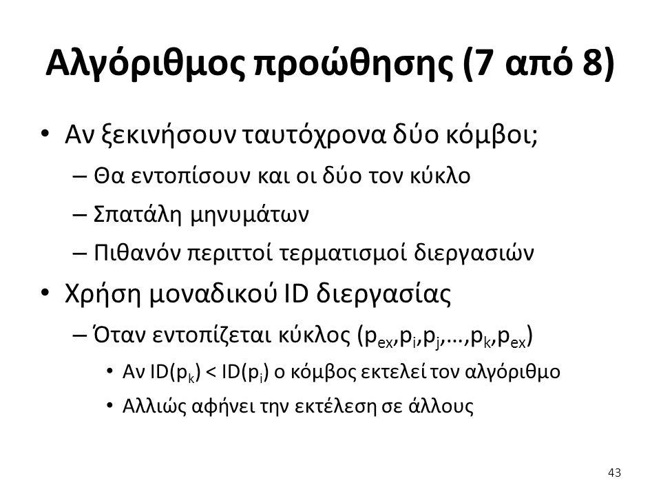 Αλγόριθμος προώθησης (7 από 8) Αν ξεκινήσουν ταυτόχρονα δύο κόμβοι; – Θα εντοπίσουν και οι δύο τον κύκλο – Σπατάλη μηνυμάτων – Πιθανόν περιττοί τερματισμοί διεργασιών Χρήση μοναδικού ID διεργασίας – Όταν εντοπίζεται κύκλος (p ex,p i,p j,…,p k,p ex ) Αν ID(p k ) < ID(p i ) ο κόμβος εκτελεί τον αλγόριθμο Αλλιώς αφήνει την εκτέλεση σε άλλους 43