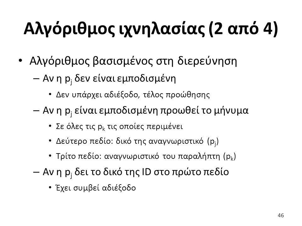 Αλγόριθμος ιχνηλασίας (2 από 4) Αλγόριθμος βασισμένος στη διερεύνηση – Αν η p j δεν είναι εμποδισμένη Δεν υπάρχει αδιέξοδο, τέλος προώθησης – Αν η p j είναι εμποδισμένη προωθεί το μήνυμα Σε όλες τις p k τις οποίες περιμένει Δεύτερο πεδίο: δικό της αναγνωριστικό (p j ) Τρίτο πεδίο: αναγνωριστικό του παραλήπτη (p k ) – Αν η p j δει το δικό της ID στο πρώτο πεδίο Έχει συμβεί αδιέξοδο 46