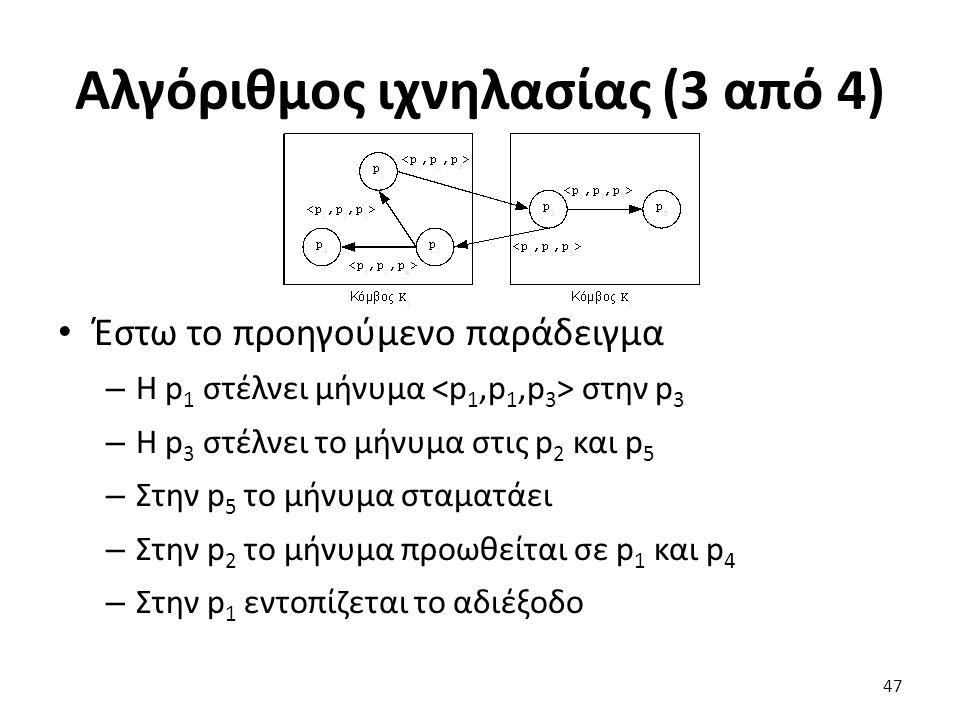 Αλγόριθμος ιχνηλασίας (3 από 4) Έστω το προηγούμενο παράδειγμα – H p 1 στέλνει μήνυμα στην p 3 – Η p 3 στέλνει το μήνυμα στις p 2 και p 5 – Στην p 5 το μήνυμα σταματάει – Στην p 2 το μήνυμα προωθείται σε p 1 και p 4 – Στην p 1 εντοπίζεται το αδιέξοδο 47