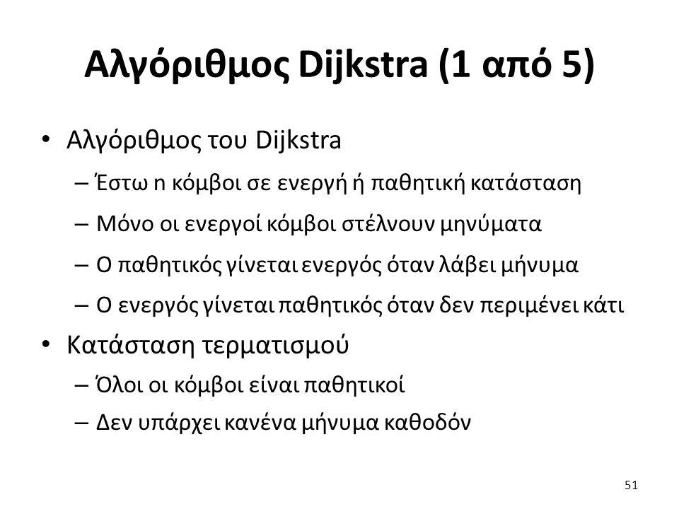 Αλγόριθμος Dijkstra (1 από 5) Αλγόριθμος του Dijkstra – Έστω n κόμβοι σε ενεργή ή παθητική κατάσταση – Μόνο οι ενεργοί κόμβοι στέλνουν μηνύματα – Ο παθητικός γίνεται ενεργός όταν λάβει μήνυμα – Ο ενεργός γίνεται παθητικός όταν δεν περιμένει κάτι Κατάσταση τερματισμού – Όλοι οι κόμβοι είναι παθητικοί – Δεν υπάρχει κανένα μήνυμα καθοδόν 51