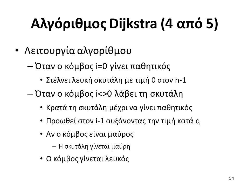 Αλγόριθμος Dijkstra (4 από 5) Λειτουργία αλγορίθμου – Όταν ο κόμβος i=0 γίνει παθητικός Στέλνει λευκή σκυτάλη με τιμή 0 στον n-1 – Όταν ο κόμβος i<>0 λάβει τη σκυτάλη Κρατά τη σκυτάλη μέχρι να γίνει παθητικός Προωθεί στον i-1 αυξάνοντας την τιμή κατά c i Αν ο κόμβος είναι μαύρος – Η σκυτάλη γίνεται μαύρη Ο κόμβος γίνεται λευκός 54
