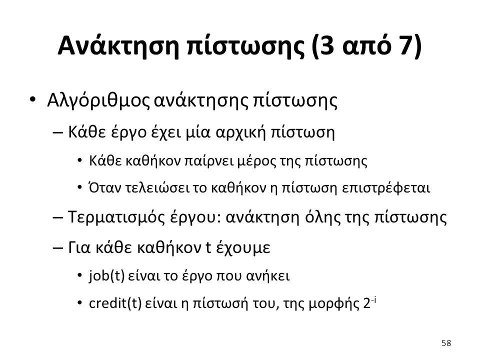 Ανάκτηση πίστωσης (3 από 7) Αλγόριθμος ανάκτησης πίστωσης – Κάθε έργο έχει μία αρχική πίστωση Κάθε καθήκον παίρνει μέρος της πίστωσης Όταν τελειώσει το καθήκον η πίστωση επιστρέφεται – Τερματισμός έργου: ανάκτηση όλης της πίστωσης – Για κάθε καθήκον t έχουμε job(t) είναι το έργο που ανήκει credit(t) είναι η πίστωσή του, της μορφής 2 -i 58
