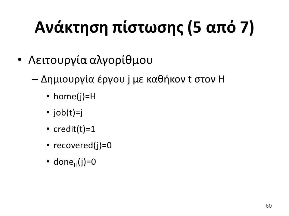 Ανάκτηση πίστωσης (5 από 7) Λειτουργία αλγορίθμου – Δημιουργία έργου j με καθήκον t στον H home(j)=H job(t)=j credit(t)=1 recovered(j)=0 done H (j)=0 60