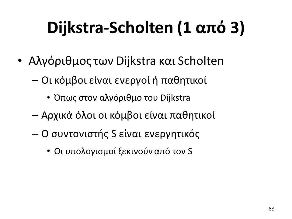 Dijkstra-Scholten (1 από 3) Αλγόριθμος των Dijkstra και Scholten – Οι κόμβοι είναι ενεργοί ή παθητικοί Όπως στον αλγόριθμο του Dijkstra – Αρχικά όλοι οι κόμβοι είναι παθητικοί – Ο συντονιστής S είναι ενεργητικός Οι υπολογισμοί ξεκινούν από τον S 63