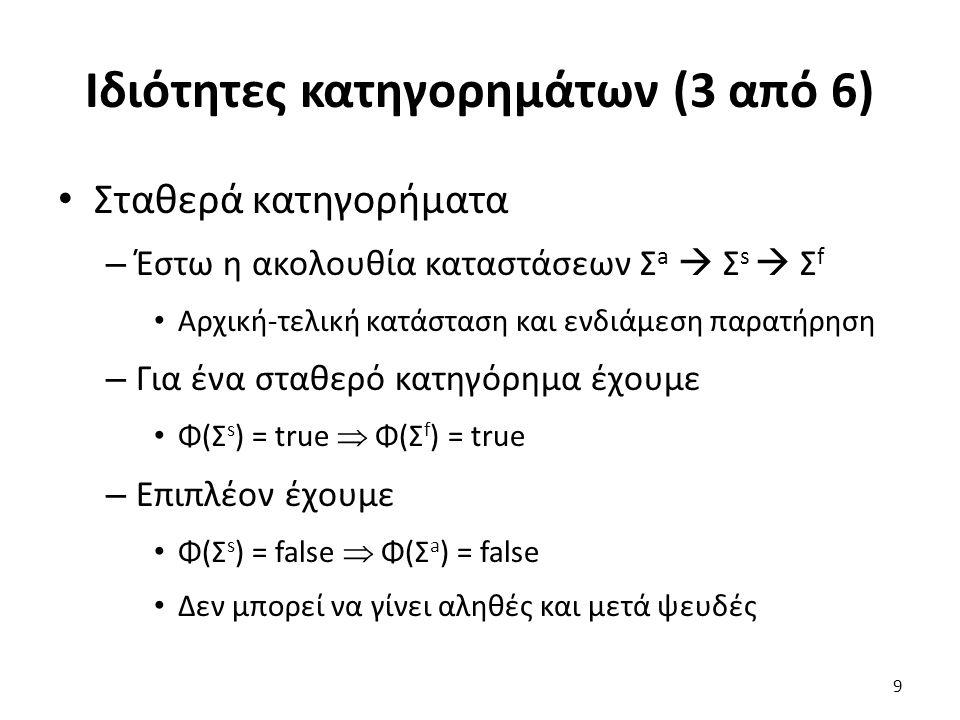 Ιδιότητες κατηγορημάτων (3 από 6) Σταθερά κατηγορήματα – Έστω η ακολουθία καταστάσεων Σ a  Σ s  Σ f Αρχική-τελική κατάσταση και ενδιάμεση παρατήρηση – Για ένα σταθερό κατηγόρημα έχουμε Φ(Σ s ) = true  Φ(Σ f ) = true – Επιπλέον έχουμε Φ(Σ s ) = false  Φ(Σ a ) = false Δεν μπορεί να γίνει αληθές και μετά ψευδές 9