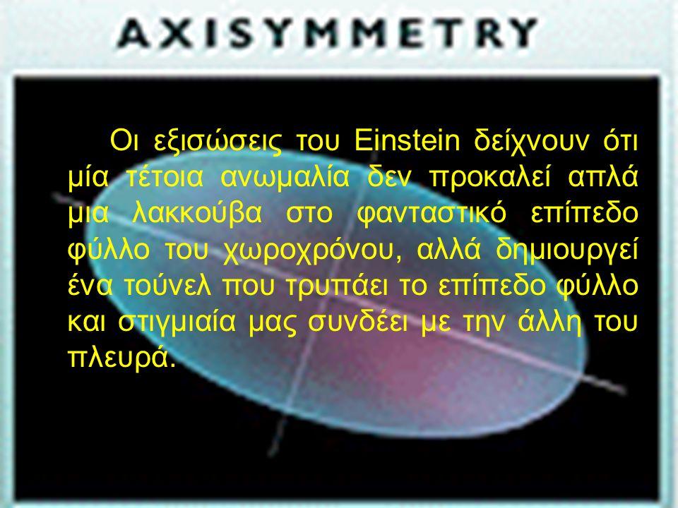 α Οι εξισώσεις του Einstein δείχνουν ότι μία τέτοια ανωμαλία δεν προκαλεί απλά μια λακκούβα στο φανταστικό επίπεδο φύλλο του χωροχρόνου, αλλά δημιουργεί ένα τούνελ που τρυπάει το επίπεδο φύλλο και στιγμιαία μας συνδέει με την άλλη του πλευρά.
