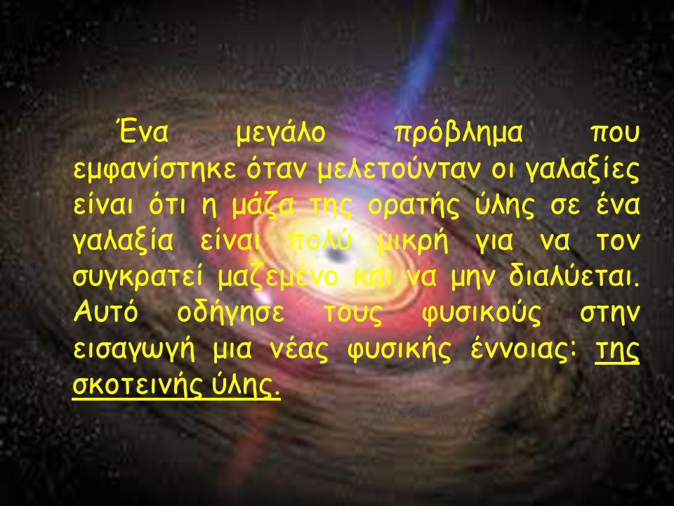 Ένα μεγάλο πρόβλημα που εμφανίστηκε όταν μελετούνταν οι γαλαξίες είναι ότι η μάζα της ορατής ύλης σε ένα γαλαξία είναι πολύ μικρή για να τον συγκρατεί μαζεμένο και να μην διαλύεται.