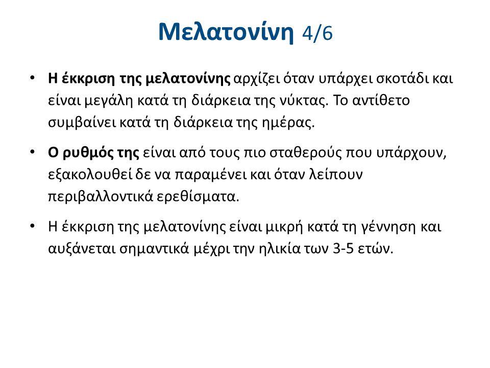 Μελατονίνη 4/6 Η έκκριση της μελατονίνης αρχίζει όταν υπάρχει σκοτάδι και είναι μεγάλη κατά τη διάρκεια της νύκτας. Το αντίθετο συμβαίνει κατά τη διάρ