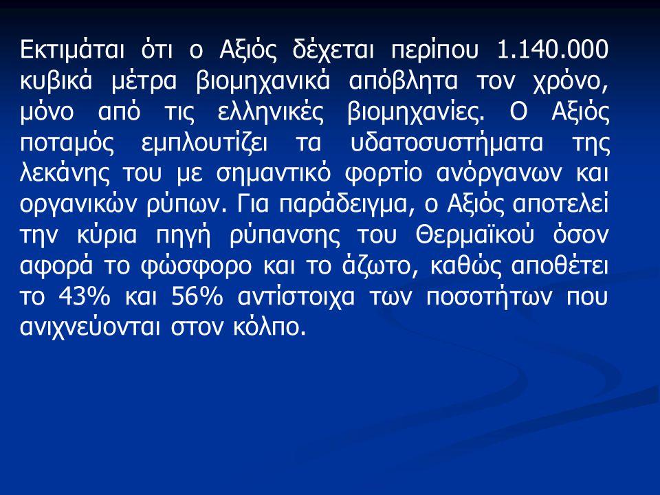 Εκτιμάται ότι ο Αξιός δέχεται περίπου 1.140.000 κυβικά μέτρα βιομηχανικά απόβλητα τον χρόνο, μόνο από τις ελληνικές βιομηχανίες. Ο Αξιός ποταμός εμπλο