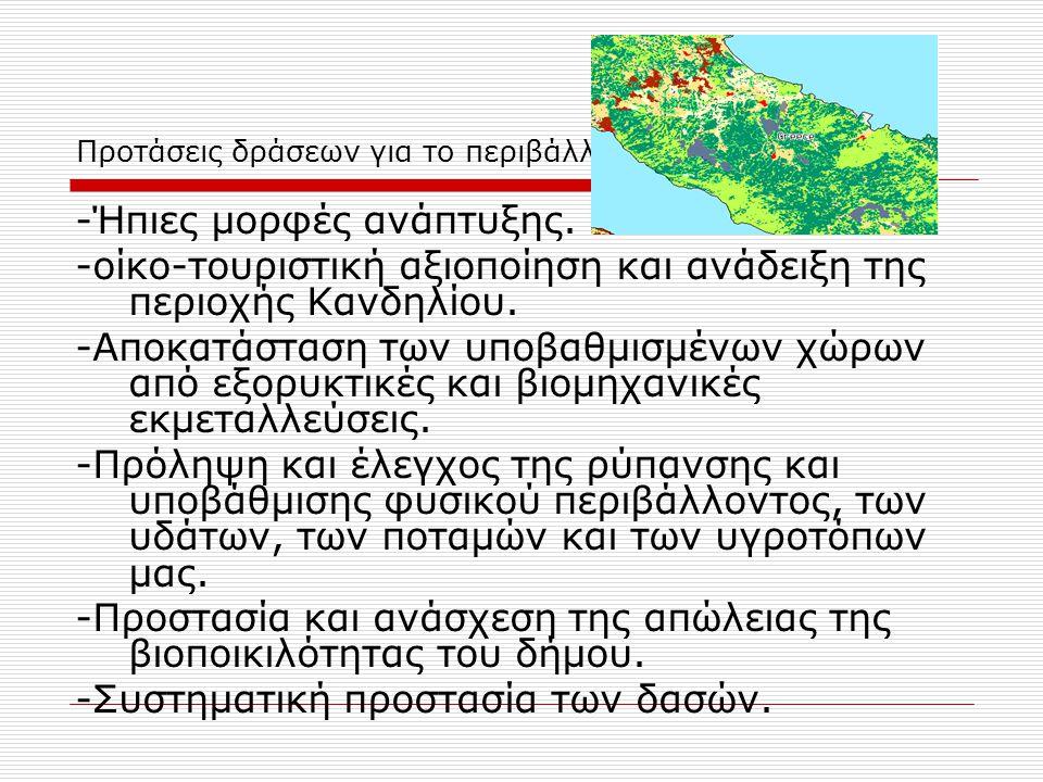 Προτάσεις δράσεων για το περιβάλλον -Ήπιες μορφές ανάπτυξης. -οίκο-τουριστική αξιοποίηση και ανάδειξη της περιοχής Κανδηλίου. -Αποκατάσταση των υποβαθ