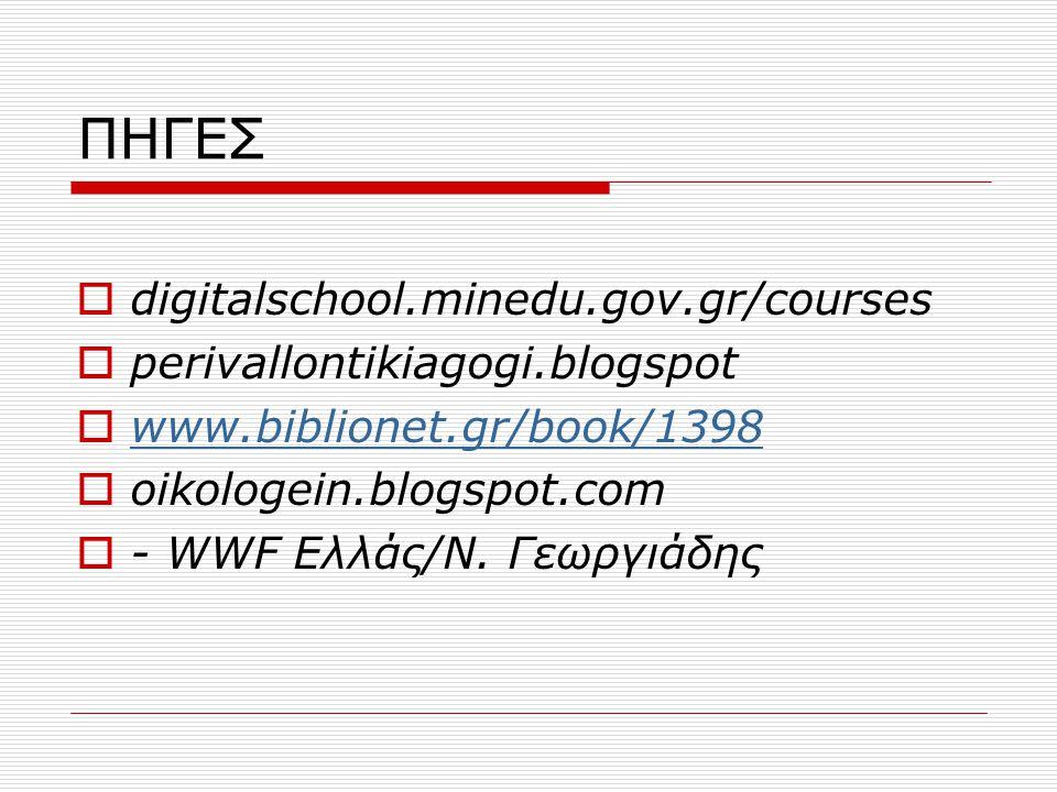 ΠΗΓΕΣ  digitalschool.minedu.gov.gr/courses  perivallontikiagogi.blogspot  www.biblionet.gr/book/1398 www.biblionet.gr/book/1398  oikologein.blogsp