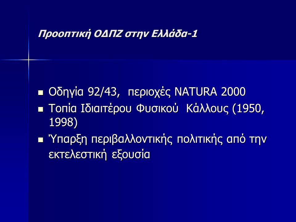 Προοπτική ΟΔΠΖ στην Ελλάδα-1 Οδηγία 92/43, περιοχές NATURA 2000 Οδηγία 92/43, περιοχές NATURA 2000 Τοπία Ιδιαιτέρου Φυσικού Κάλλους (1950, 1998) Τοπία Ιδιαιτέρου Φυσικού Κάλλους (1950, 1998) Ύπαρξη περιβαλλοντικής πολιτικής από την εκτελεστική εξουσία Ύπαρξη περιβαλλοντικής πολιτικής από την εκτελεστική εξουσία