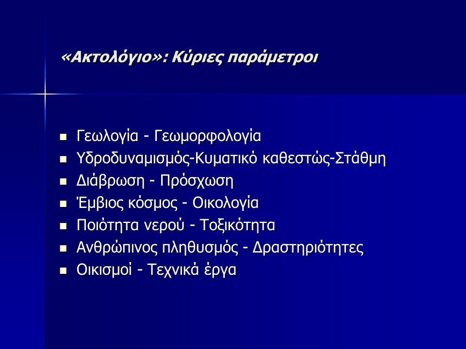 «Ακτολόγιο»: Κύριες παράμετροι Γεωλογία - Γεωμορφολογία Γεωλογία - Γεωμορφολογία Υδροδυναμισμός-Κυματικό καθεστώς-Στάθμη Υδροδυναμισμός-Κυματικό καθεστώς-Στάθμη Διάβρωση - Πρόσχωση Διάβρωση - Πρόσχωση Έμβιος κόσμος - Οικολογία Έμβιος κόσμος - Οικολογία Ποιότητα νερού - Τοξικότητα Ποιότητα νερού - Τοξικότητα Ανθρώπινος πληθυσμός - Δραστηριότητες Ανθρώπινος πληθυσμός - Δραστηριότητες Οικισμοί - Τεχνικά έργα Οικισμοί - Τεχνικά έργα