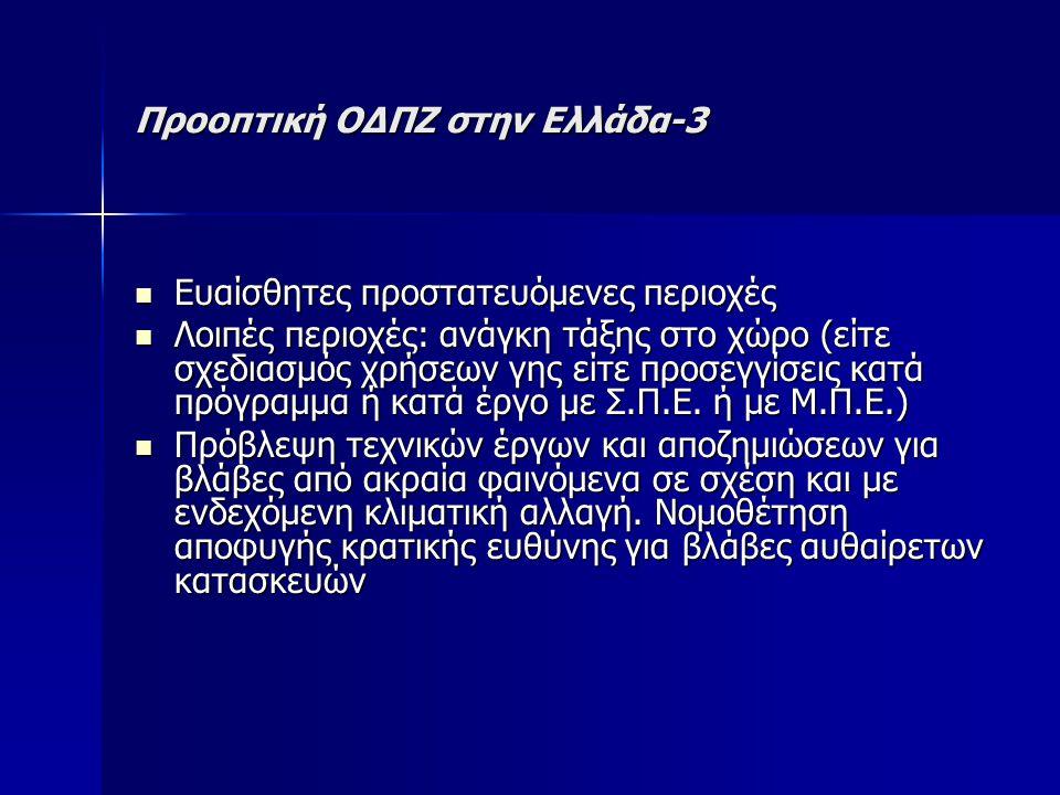 Προοπτική ΟΔΠΖ στην Ελλάδα-3 Ευαίσθητες προστατευόμενες περιοχές Ευαίσθητες προστατευόμενες περιοχές Λοιπές περιοχές: ανάγκη τάξης στο χώρο (είτε σχεδιασμός χρήσεων γης είτε προσεγγίσεις κατά πρόγραμμα ή κατά έργο με Σ.Π.Ε.