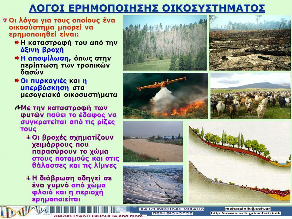 ΛΟΓΟΙ ΕΡΗΜΟΠΟΙΗΣΗΣ ΟΙΚΟΣΥΣΤΗΜΑΤΟΣ Οι λόγοι για τους οποίους ένα οικοσύστημα μπορεί να ερημοποιηθεί είναι: όξινη βροχή Η καταστροφή του από την όξινη βροχή Η αποψίλωση Η αποψίλωση, όπως στην περίπτωση των τροπικών δασών Οι πυρκαγιές η υπερβόσκηση Οι πυρκαγιές και η υπερβόσκηση στα μεσογειακά οικοσυστήματα Με την καταστροφή των φυτών παύει το έδαφος να συγκρατείται από τις ρίζες τους Οι βροχές σχηματίζουν χειμάρρους που παρασύρουν το χώμα στους ποταμούς και στις θάλασσες και τις λίμνες Η διάβρωση οδηγεί σε ένα γυμνό από χώμα φλοιό και η περιοχή ερημοποιείται