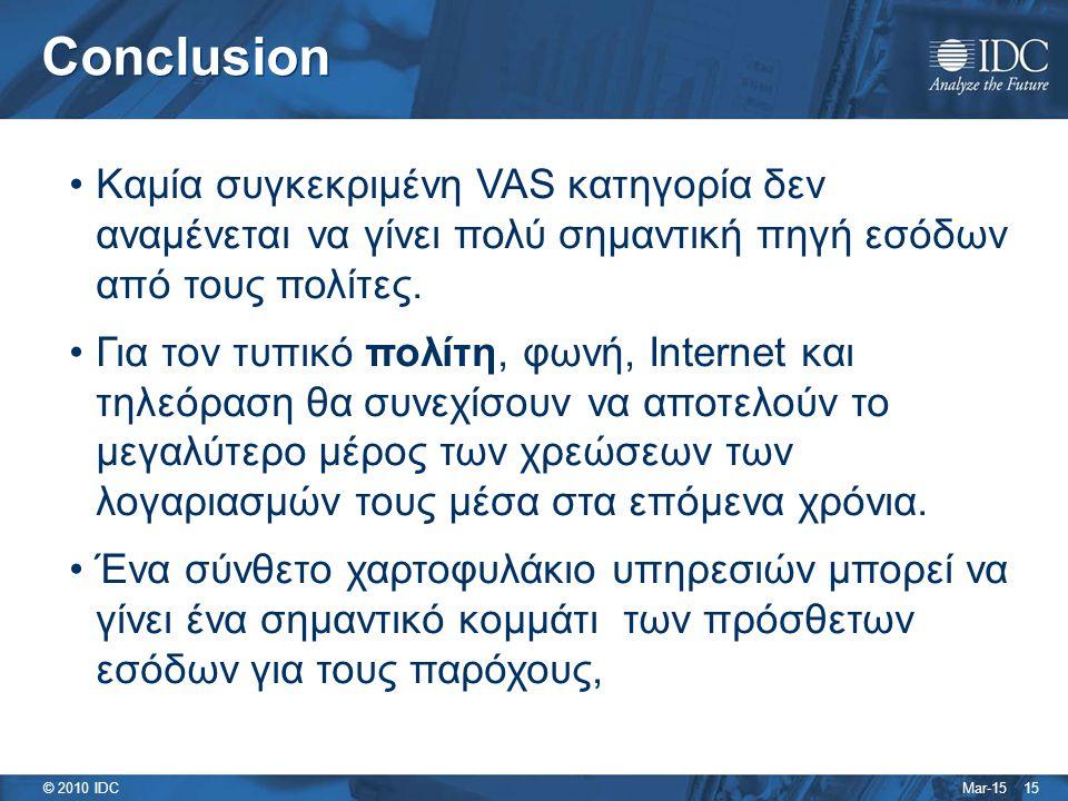 Mar-15 © 2010 IDC Conclusion 15 Καμία συγκεκριμένη VAS κατηγορία δεν αναμένεται να γίνει πολύ σημαντική πηγή εσόδων από τους πολίτες.